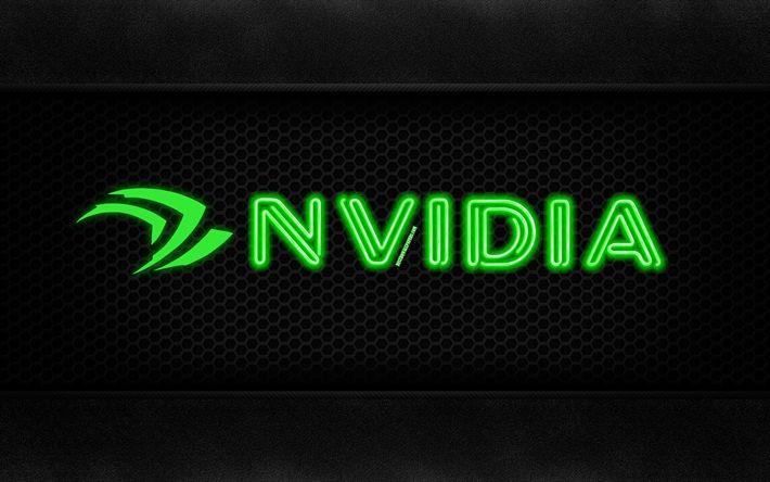 Herunterladen hintergrundbild nvidia, 4k, neon-logo, kreativ -, metall-hintergrund, nvidia-logo