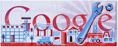 """Labour Day 2011""  May 1, 2011  Various locations    #doodle #doodles #google #googledoodles"