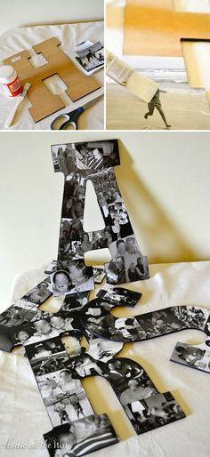 Letras con cartones y fotos.