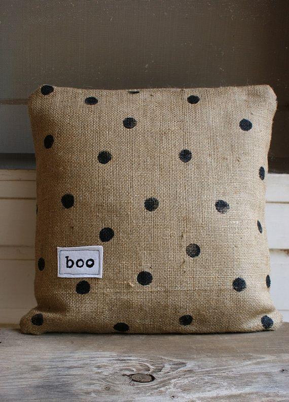 black painted polka dots on burlap