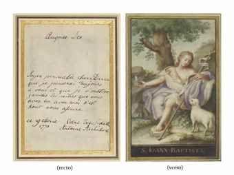 MARIE-ANTOINETTE. Pièce autographe, signée Antoine Archiduchesse, adressée à Thérèse ou Barbe Durieux, datée du 19 avril 1770. Elle a été rédigée au verso d'une gouache représentant saint Jean-Baptiste. Un feuillet in-12 (environ 165 x 115 mm). Encre et gouache sur peau de vélin. Encadré.