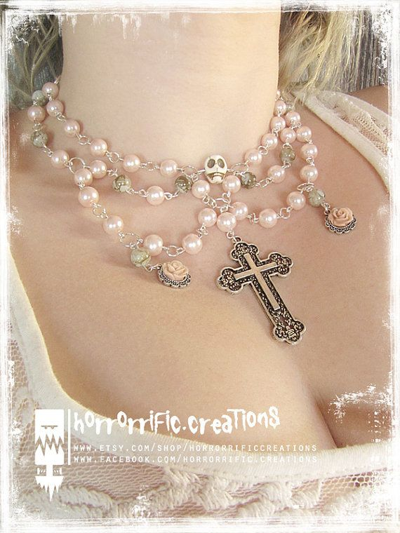 Pastel Goth beaded necklace cross skull by HorrorrificCreations
