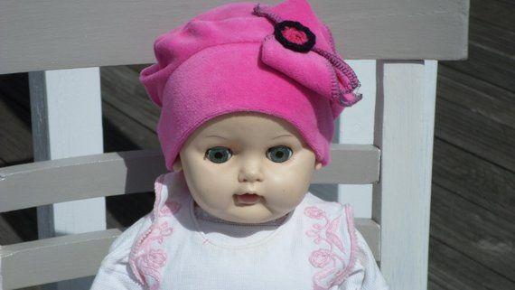 bonnet béret chapeau turban,bébé fille, cadeau, naissance, lin eva, kids,  velours, rose fuchsia,collection automne ,doux,extensible 85799278173