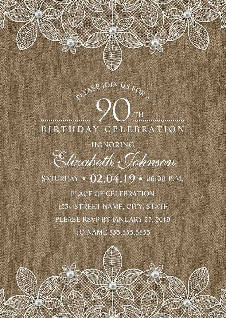Country Burlap 90th Birthday Invitations –  Lace and Pearls Party Cards. Unique luxury birthday party invitations. Feature a beautiful rustic lace, pearls, a unique stylish typography on a rustic burlap background. A creative invitation perfect for rustic country themed, or other birthday celebrations. This elegant birthday party invitation is fully customized. Just add your birthday party details (including age). More at http://superdazzle.com
