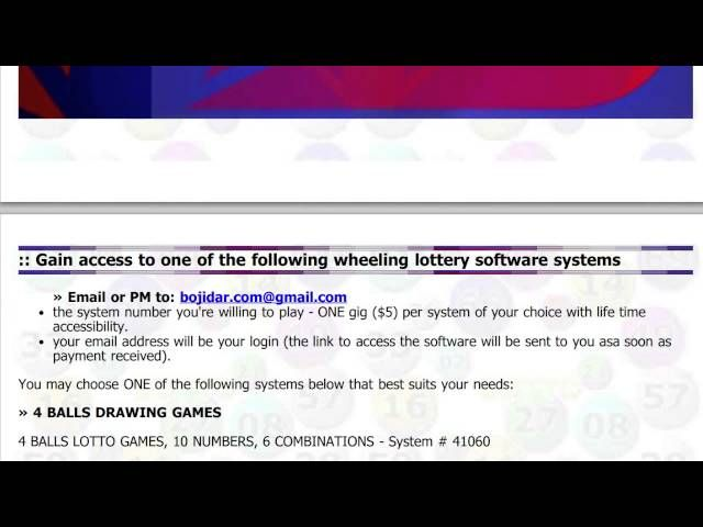 Win Money 4 5 6 7 Ball Numbers Lotto System Wheels Lottery Games & Combinations
