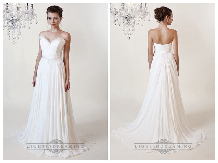 Sheath Ruffled Sweetheart Wedding Dresses with Draped Skirt