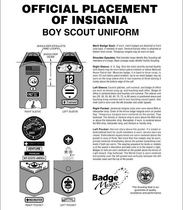 Official placement of insignia on uniform | boy scout uniform, boy.