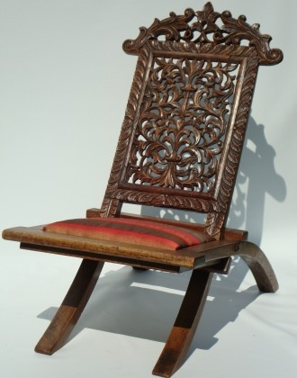 Antique Carved Fruit Wood Victorian Folding Chair With Curved Legs And  Carved And Fretted Back