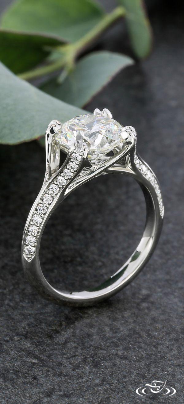 Elegant Platinum Diamond Melee Engagement Ring. Green Lake Jewelry