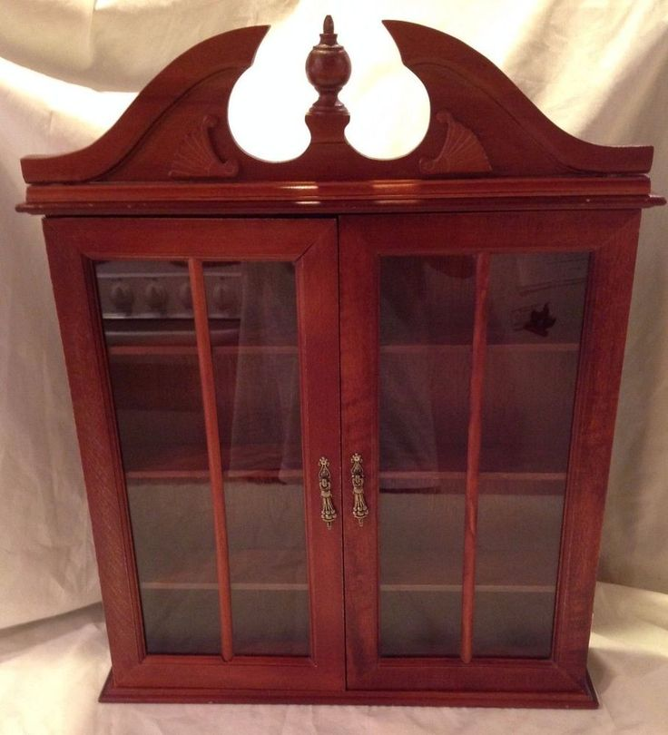 Vintage Large Dark Wood Glass Doors Shelf Miniature Display Wall Curio Cabinet  #Unknown
