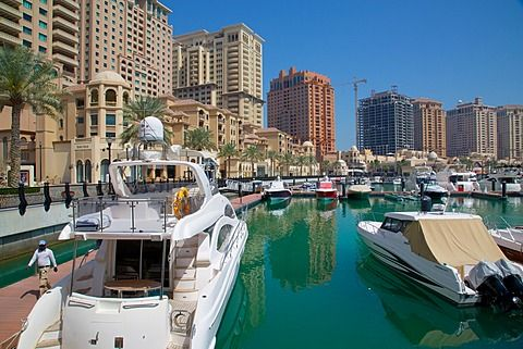 Harbour and architecture, The Pearl, Doha, Qatar, Middle East