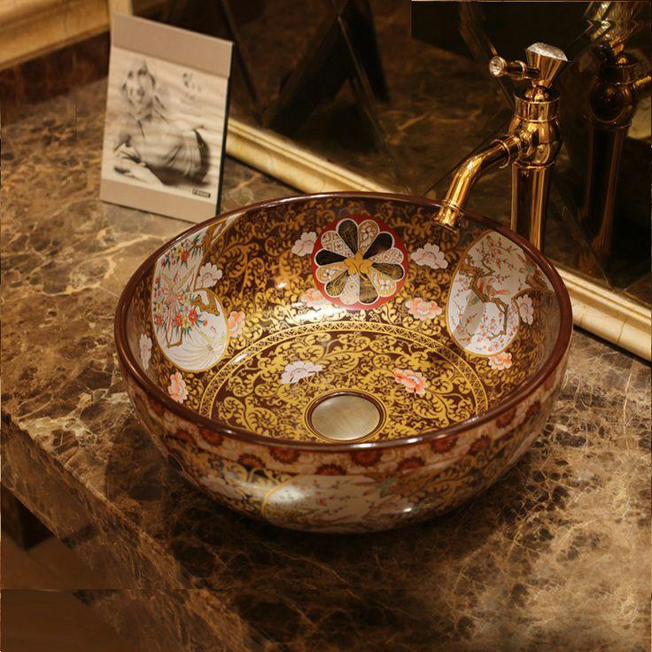 Europa Estilo Vintage Art Porcelana Bancada Pia Bacia Cerâmica acima do balcão arte lavatório Do Banheiro Navio Afunda Vaidades(China (Mainland))