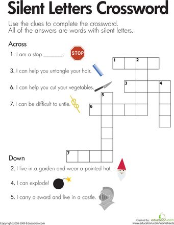 silent letters crossword reading worksheets words and crossword. Black Bedroom Furniture Sets. Home Design Ideas