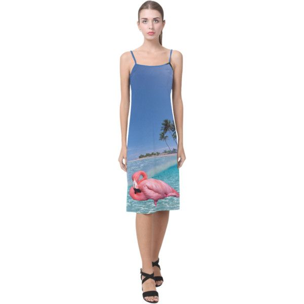 Flamingo and Palms Alcestis Slip Midi Dress ($35) ❤ liked on Polyvore featuring dresses, blue slip dress, blue slip, knee length dresses, blue midi dress and palm print dress