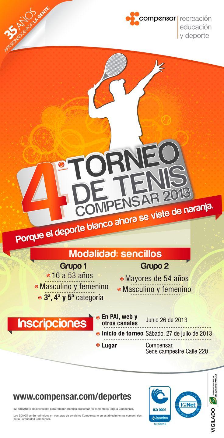 Ven y participa del 4 Torneo de tenis que se realizará en la sede campestre Calle 220. Inicia el 27 de julio. No te quedes sin cupo. http://www.compensar.com/deportes/