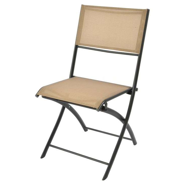 • Made of powder-coated steel<br>• Supports up to 250 pounds<br>• Weather resistant and foldable<br><br>Add extra seating for guests or pull a spot up to the table with the Bistro Sling Folding Chair in Gray from Room Essentials. This outdoor patio chair is a comfortable spot to eat al fresco or just admire the view.
