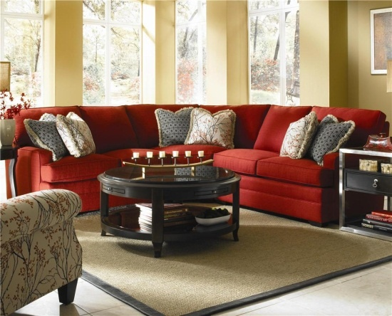 Custom 3 pieces red sectional sofa by belfort furniture
