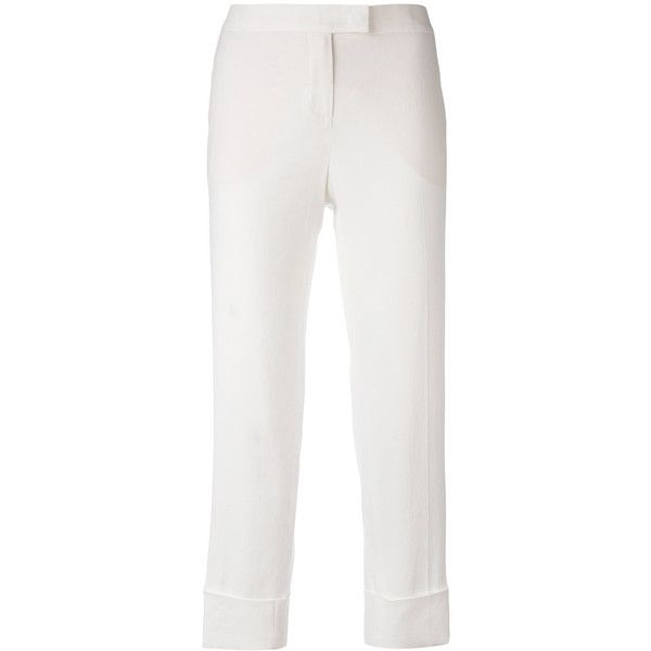 Fabiana Filippi cropped pants ($313) ❤ liked on Polyvore featuring pants, capris, white, white cropped trousers, cropped trousers, white trousers, white stretch pants and white stretchy pants