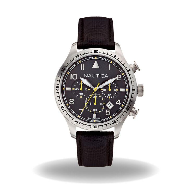 Nautica – A16577G Nautica – A16577G Cassa (44 mm) in acciaio Quadrante nero Cronografo Tachimetro Data Cinturino in pelle e resina nero