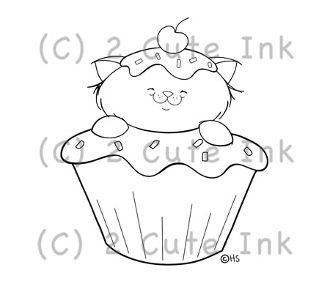 Cupcake Kitty 2 Cute Ink Digital Stamp $3.00