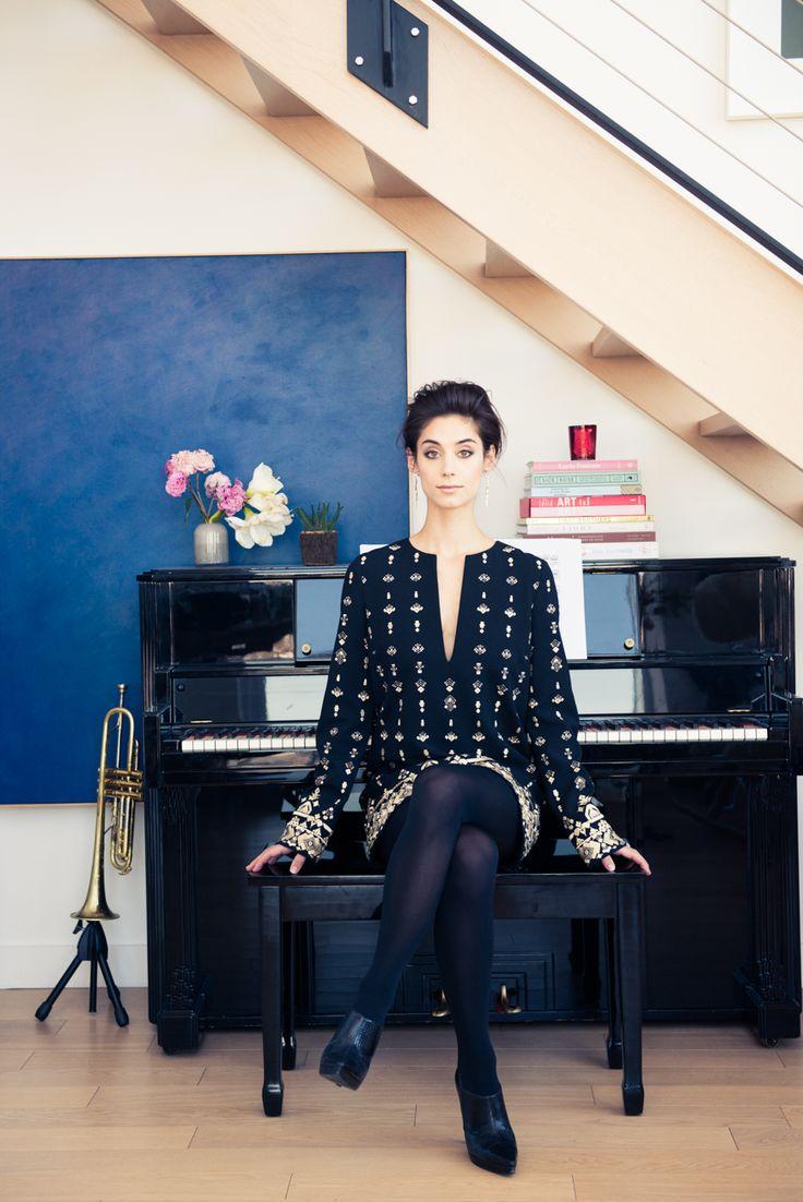 Beautiful art dealer Andi Potamkin in lovely boho chic Rachel Zoe dress