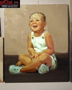 Tablouri pictate: Portret de copil. Portrete la comanda, portret pictat in ulei pe panza dupa fotografie Portret copil Cadou onomastica