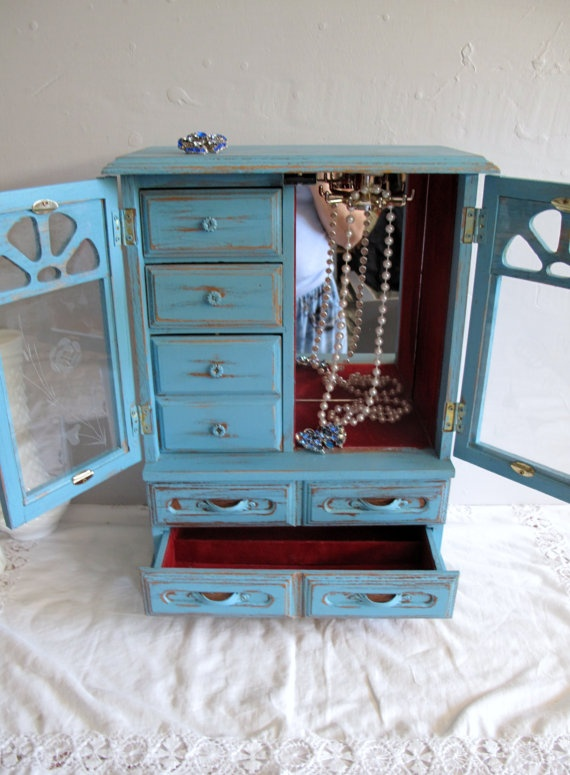 Paris Blue Vintage Wood Jewelry Chest / Large 16 tall  Jewelry Box, Gift, Distressed,  Handfinished in French Blue