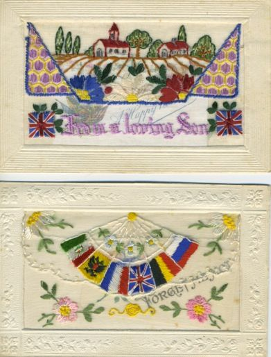 WORLD WAR I SILK POSTCARDS  Over 10 million silk postcards were produced and sent from the front during WWI, and over a century later many still are as vibrant as they were then.  Hear local history enthusiast and collector Collette Searl speak about her vast collection of WWI silk postcards. Tuesday 26 April 2016 2 to 3pm