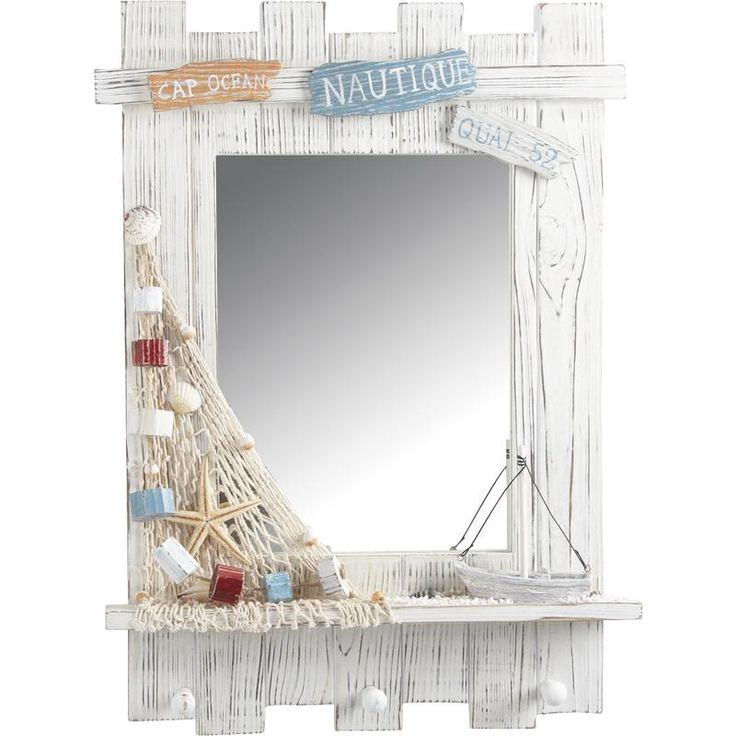 Miroir rectangulaire d cor marin partir de for Decoration marine bois