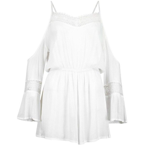 Boohoo Mya Crochet Detail Cold Shoulder Beach Playsuit | Boohoo ($26) ❤ liked on Polyvore featuring jumpsuits, rompers, white rompers, playsuit romper, white romper, beach romper and beach rompers