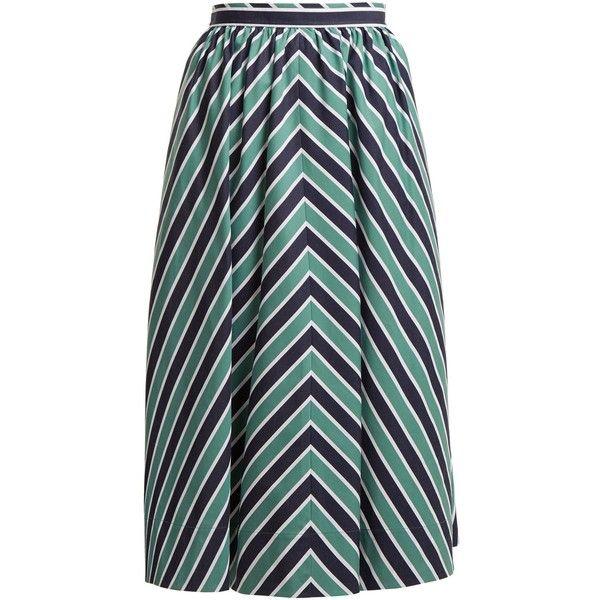 06d382d3f132 Fendi Chevron-striped A-line cotton midi skirt (2