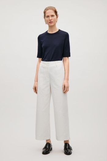 COS image 1 of Wide-leg crepe trousers in Off white