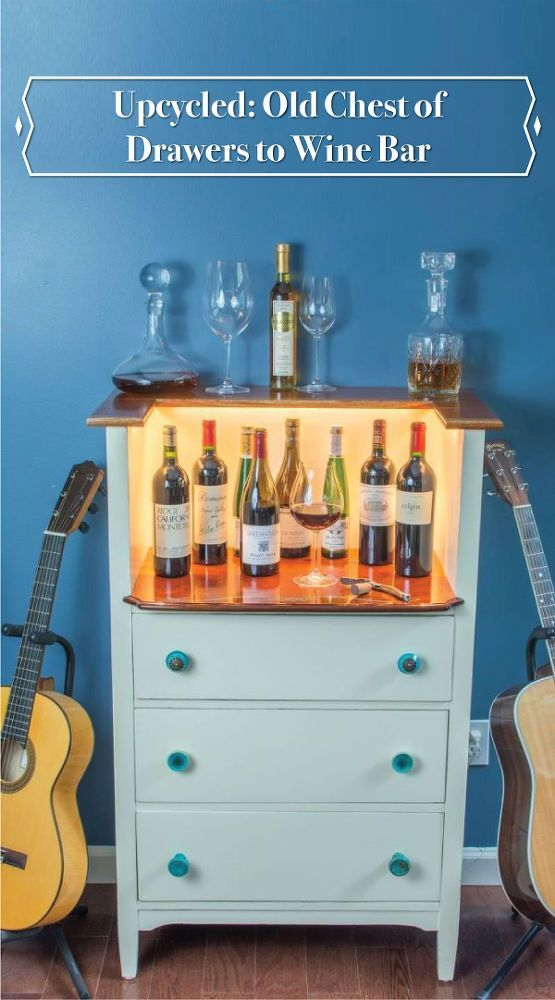 Upcycled Old chest of drawers turn wine bar?! Wow this is a creative DIY. This would be perfect for a small space or an apartment!