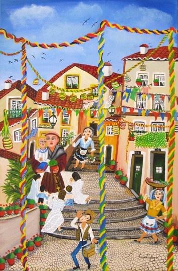 Santo Antonio, Santos Populares, Alfama, Lisbon, Portugal http://allartsgallery.com/paintings/paintings/1208/medium_Alfama__festas_Tradicionais_a_st__Ant_nio_de_Lisboa_60x40_AST.jpg?1309861171