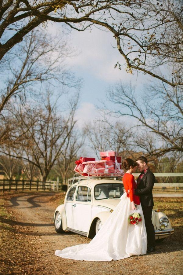 white VW bug wedding getaway car
