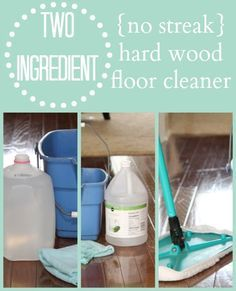 No Streak Hardwood Floor Cleaner {just 2 ingredients you already have ~ never pay for expensive floor cleaners again... works on vinyl and linoleum too!)