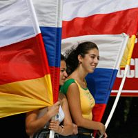 Local residents of South Ossetia celebrating the independence of the republic recognized by Russia on August 25, 2008. Photo: Reuters