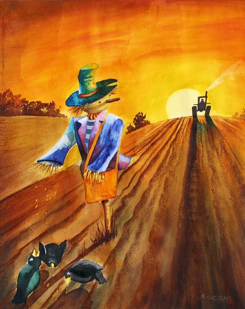 Tales by Levente Kocsis, via Behance Title: Renegate A good scarecrow watercolor