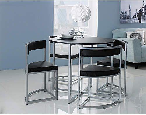 Hygena Milan Oak Effect Space Saver Table 4 Chairs