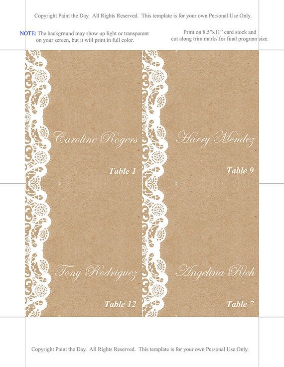 Fold Over Wedding Place Card Template - Kraft Escort Card ...