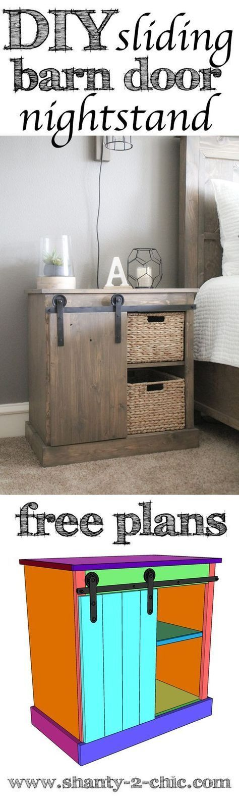 Ideas for the house DIY Sliding Barn Door Nightstand plans and how-to video! Learn how to build this nightstand and the $20 DIY barn door hardware. Easy to customize and perfect for so many places in your home! We love barn doors and love fining unique ways to incorporate them on furniture pieces. Visit www.shanty-2-chic.com for the free plans and how-to video.