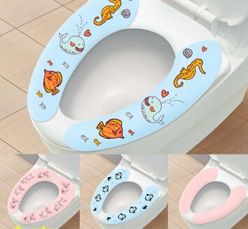 Multicolor Soft Comfortable Artificial Fiber Washable Bathroom Toilet Seat Cover Cute Sticky Mat Lid Closestool Cloth