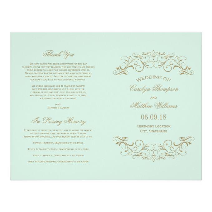 "Wedding Programs   Antique Gold Flourish 8.5"" X 11"" Flyer"