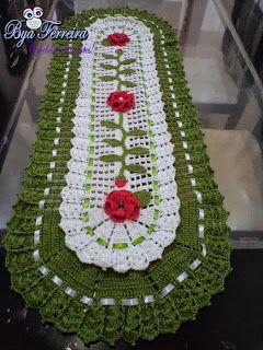 Crochê Bya Ferreira: Caminho de mesa Dual color - Modelo 4