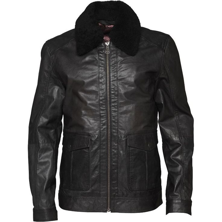 Buy Ted Baker Mens Baelor Shearling Collar Leather Jacket...