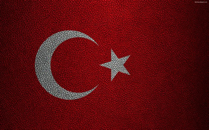 Download wallpapers Flag of Turkey, 4k, leather texture, Turkish flag, Europe, flags of Europe, Turkey