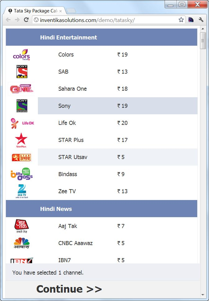 Simplifying Tata Sky – Package Calculator