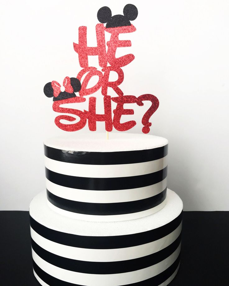 Disney gender reveal cake topper- minnie and mickey cake topper gender reveal cake topper by sprinkledwithpaper on Etsy https://www.etsy.com/listing/516069534/disney-gender-reveal-cake-topper-minnie