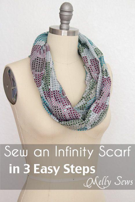 Hoe maak je een infinity sjaal naaien - Maak een infinity sjaal in slechts 3 stappen!  Perfect voor een geschenken of groep ambachtelijke projecten - Melly Sews