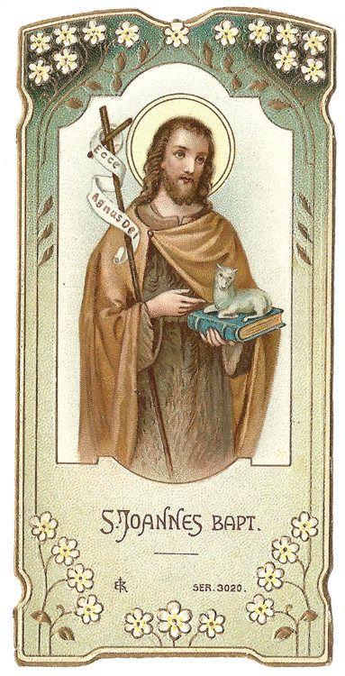 St. John the Baptist Antique French Holy Prayer Card Art